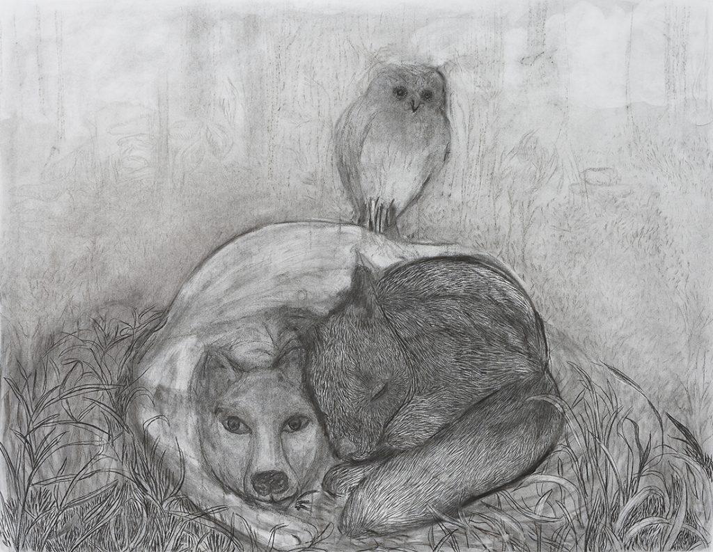 Viviana Blanco Abrazo Carbonilla sobre papel 103 x 133 cm 2014