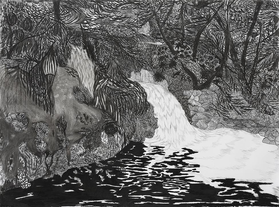 Viviana Blanco Cascada Carbonilla sobre papel 113 x 151cm Coleccion privada 2014