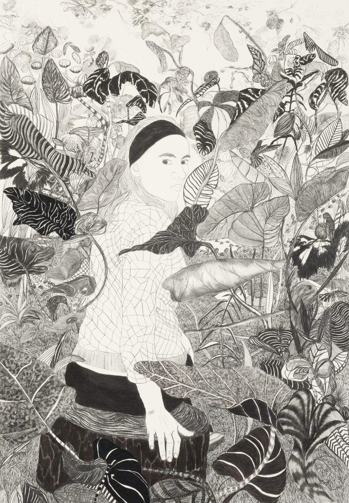 Viviana Blanco Chica florida Carbonilla sobre papel 200 x 140 cm La Hora Presente Galeria Palatina Buenos Aires 2015