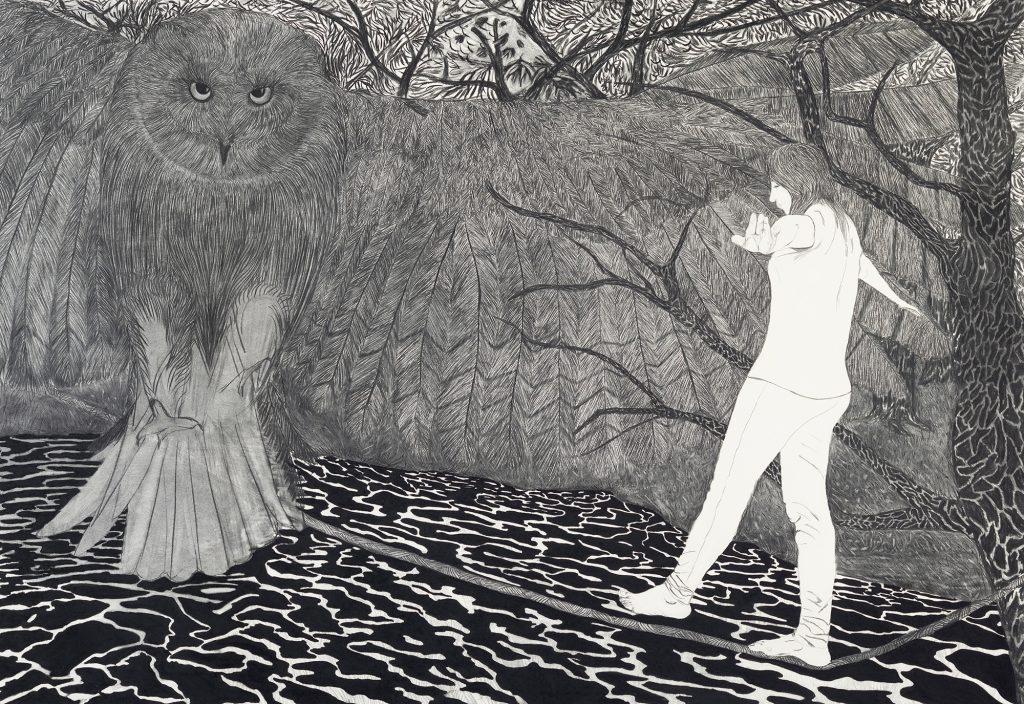 Viviana Blanco Noctambula Carbonilla sobre papel 140 x 200 cm La Hora Presente Galeria Palatina Buenos Aires 2015