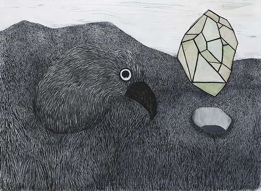 Viviana Blanco Pajaroroca Carbonilla y oleo sobre papel 124 x 162 cm Galeria Palatina Buenos Aires 2012
