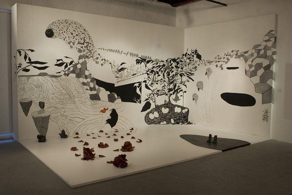 Viviana Blanco Parecido Desconocido Grafito y acrilico sobre muro 2009 Centro Nacional de las Artes, Mexico Medidas variables